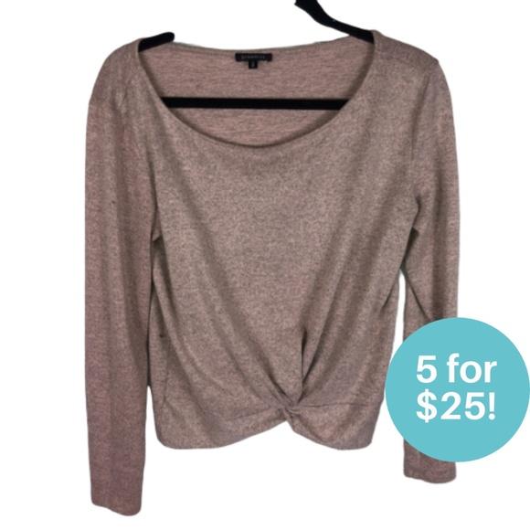 5/$25 - Dynamite Twist Hem Sweater Pink Medium